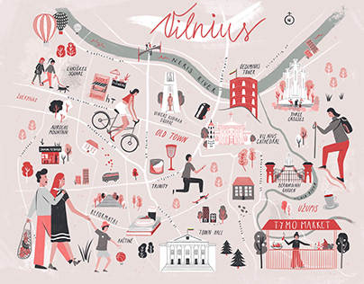 Vilnius Lithuania Illustrated Map
