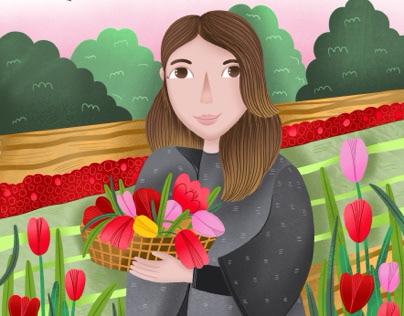 Custom portrait with tulips