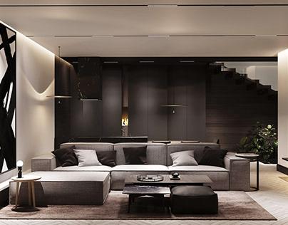Interior design in a modern cottage in Bruhovel