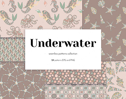 Vintage Underwater Illustrations and Seamless Patterns
