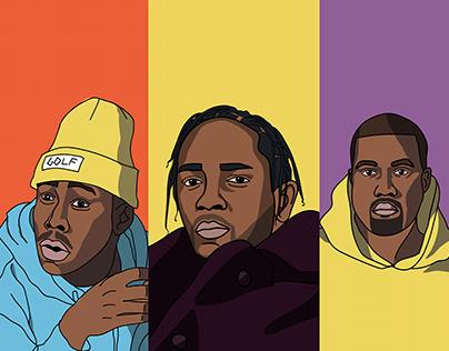 Rappers Illustration - Tyler,Kendrick,Kanye