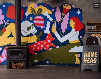 Bonehead Mural and Beer Can Design