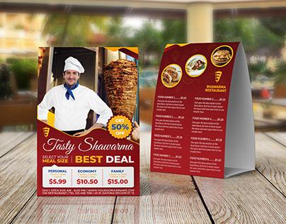 Shawarma Restaurant Table Tent - Food Menu Template