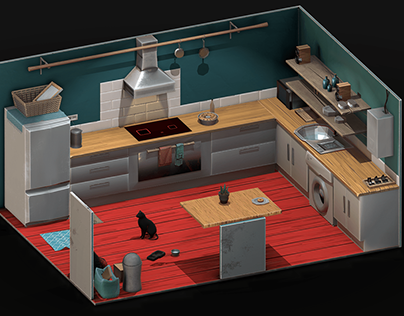 Low-Poly Kitchen