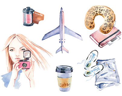 Commercial watercolor travel illustration
