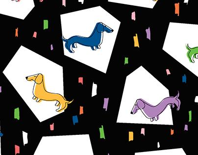 Retro Wiener Dog in Black