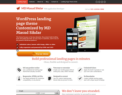 JustLanded - WordPress Landing Page theme customized