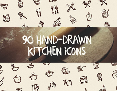 90 Hand-Drawn Kitchen Icons