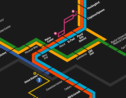 Integrated Urban Rail Transit Map for Dallas-Fort Worth