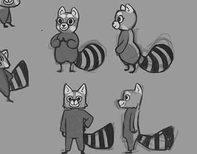 Red panda character concept sketches