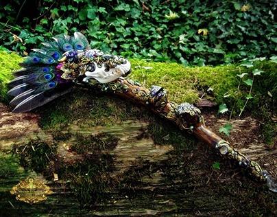 COYOTE SPIRIT Skull Crystal Scepter Wand
