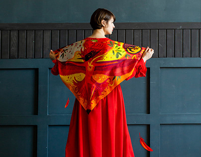 "Silk scarves ""The Element of Fire. Revival"""