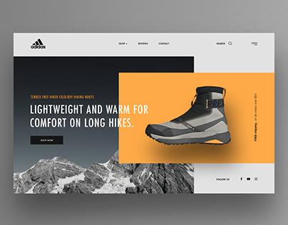 Hiking Shoes hero UI design
