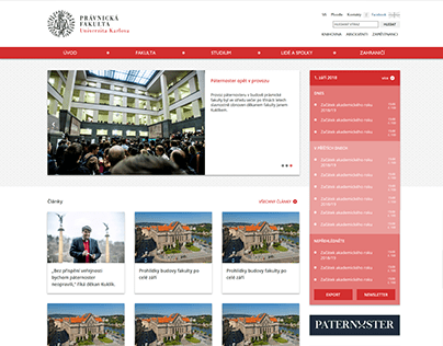Website of Faculty of Law Charles University (2018)