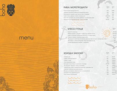 boho restaurant// odessa styled menu design