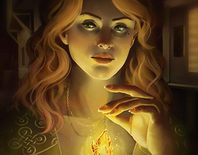 Fire Amulet - Card Illustration