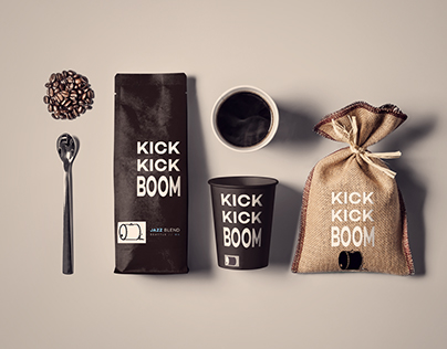 KICK KICK BOOM coffee packaging design and branding.