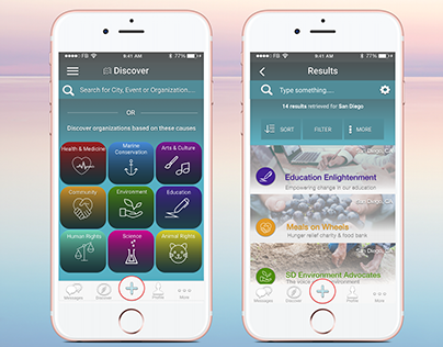 Mobile UI Design: Discover & Results Page