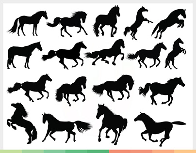 Running Horses Silhouette Vector SVG Bundle