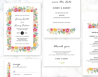 Floral Wedding Invitation Set - 4
