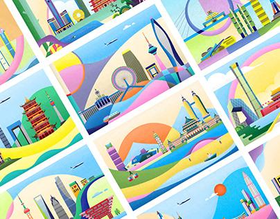 City Landmarks series of illustrations