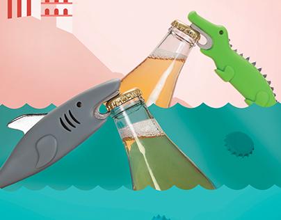 Crocodile and Shark Bottle Openers