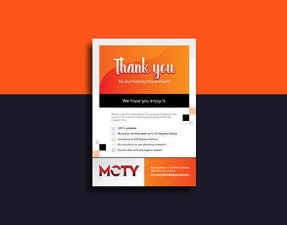 Moty-Amazon Product Insert, Flyer, Thank You Design