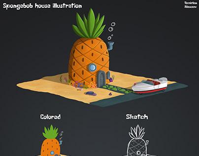 2D illustration of a house SpongeBob SquarePants