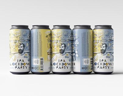 Beer label IPA Lockdown Party   Дизайн этикетки пива