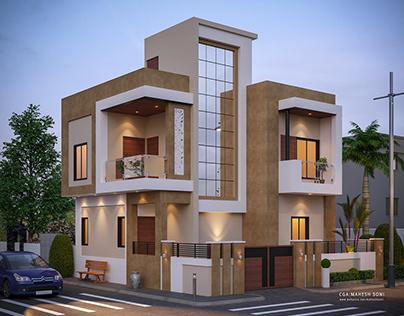 Duplex Front Elevation Design