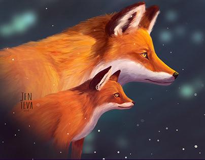 Foxes illustration