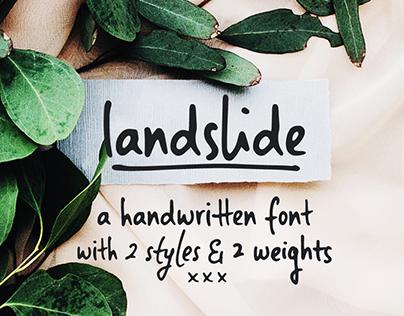 Landslide handwritten font family & free sample!