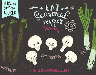 Eat seasonal veggies - funny food illustration