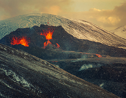 Snow Storm and Sunset over the Geldingadalir Volcano
