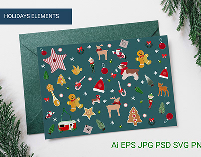 Christmas Cozy Illustrations and cliparts