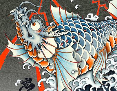 Dragon fish Digi-UKIYOE