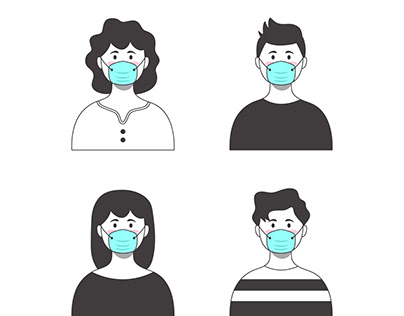 Hand drawn people wearing medical mask