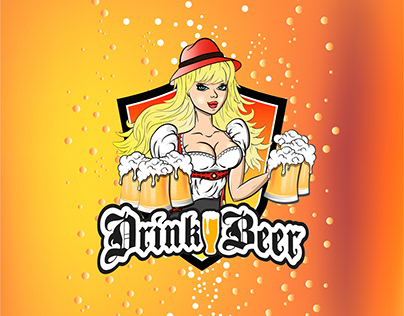 Sexy girl waitress and beer logos