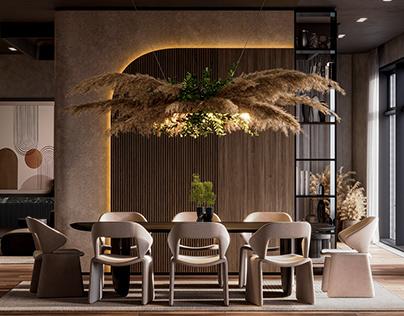Warm minimalistic interior