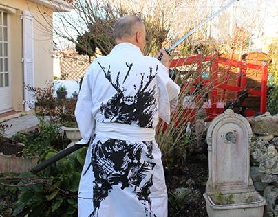 Samouraï peint main sur Yukata fait main