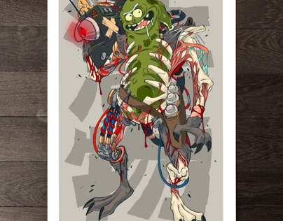 MECHASOUL PICKLE RICK FINE ART PRINT