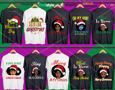 Afro American Christmas T-Shirt Design Bundle