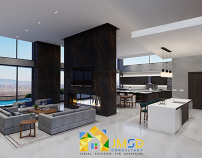 Living Room with Kitchen Visualization Las Vegas NV