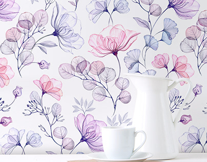 Dreams of the Meadow. Watercolor Floral Pattern