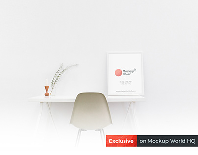 White Photo Frame Mockup on a Table | Free Mockup