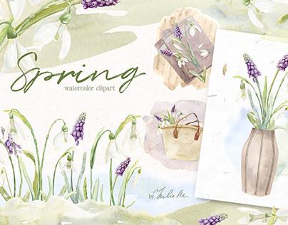 Spring Snowdrop and Muscari Clip Art