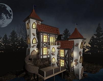 3D Cartoon Castle Illustration