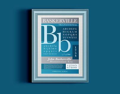 Type specimen poster. Baskerville Font