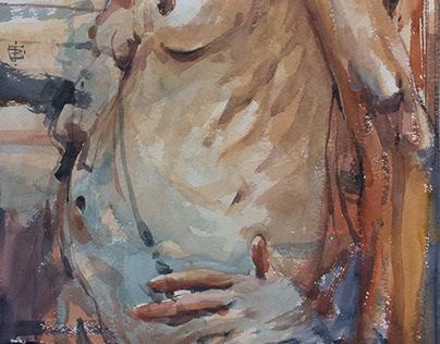 figure study, watercolour 76 x 56 cm