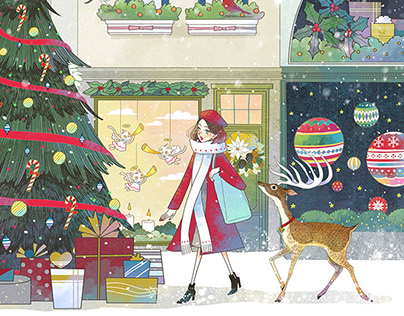 Christmas illstration for UNT Cosmetic